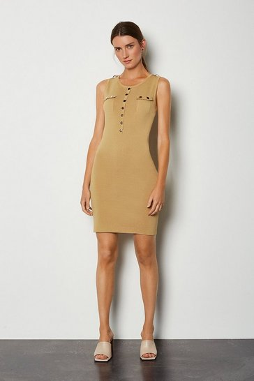 Camel Gold Button Sleeveless Knitted Dress