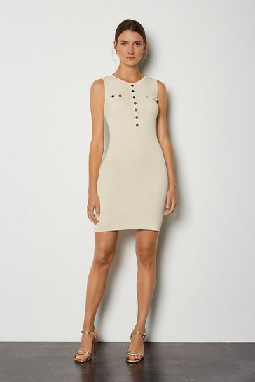 Cream Gold Button Sleeveless Knitted Dress