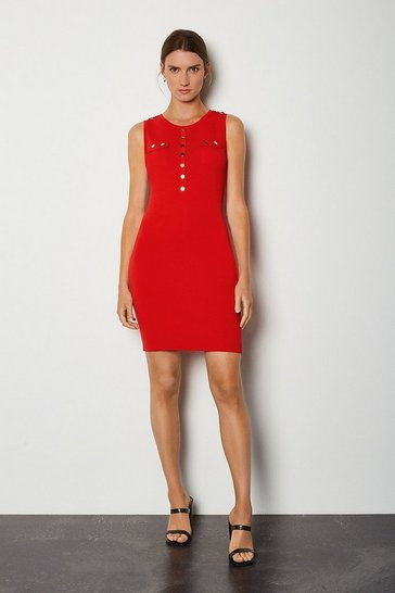 Red Gold Button Sleeveless Knitted Dress