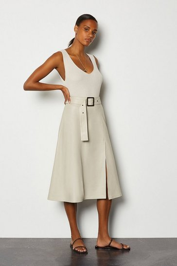 Cream Leather A-Line Belted Skirt