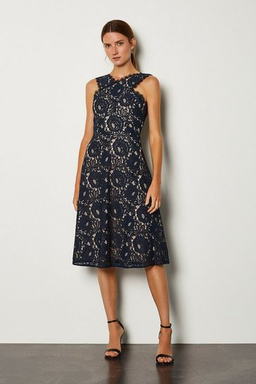 Navy Cotton Jersey Lace Trim Dress