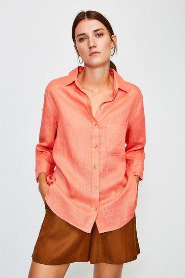 Coral Linen Shirt