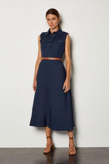 Navy Linen Blend Button Through Utility Dress