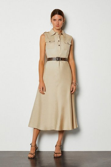 Stone Linen Blend Button Through Utility Dress