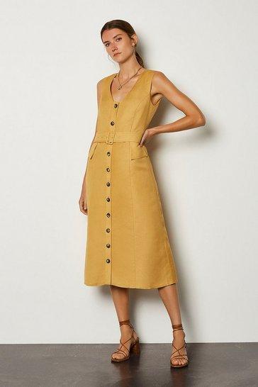 Mustard Linen Blend Belted Button Through Dress