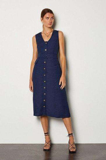 Navy Linen Blend Belted Button Through Dress