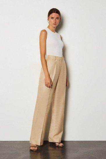 Stone Linen Blend Tuck Detail Trouser