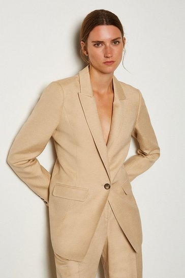 Stone Linen Blend Single Breast Jacket