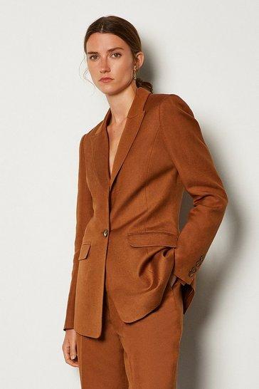 Tobacco Linen Blend Single Breast Jacket
