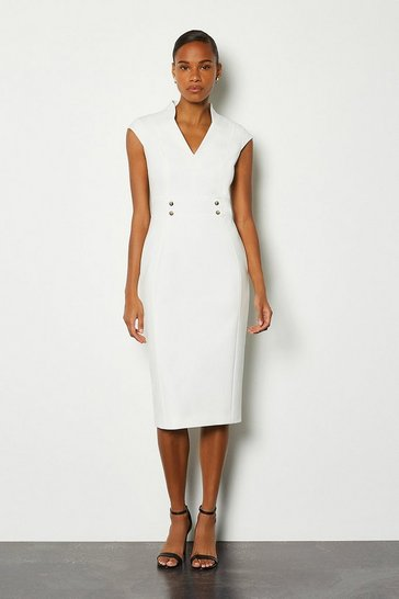 Ivory Forever Cap Sleeve Stud Waist Dress