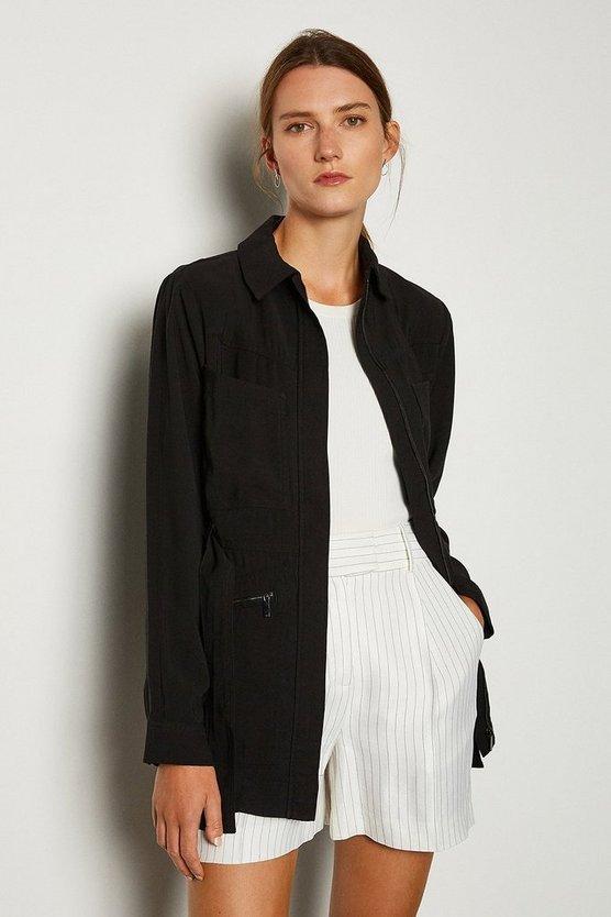 Black Collared Detail Jacket