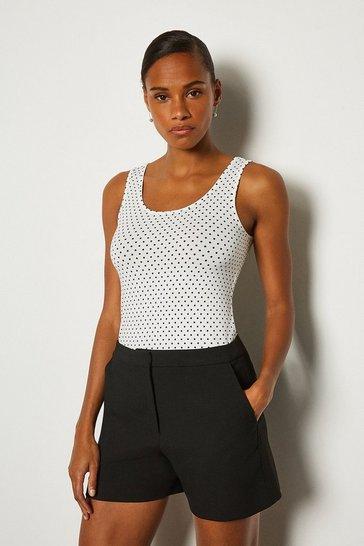 Black Viscose Elastane Print Vest