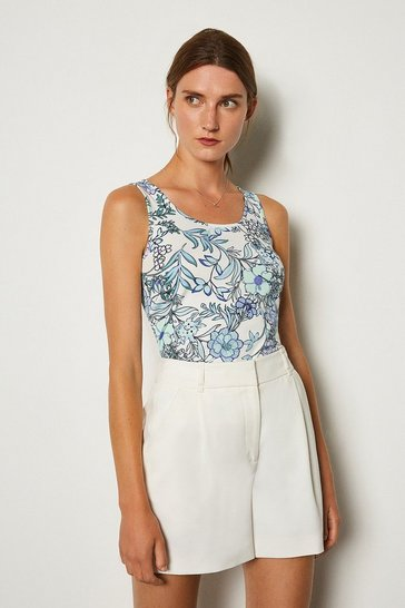 Blue Viscose Elastane Print Vest