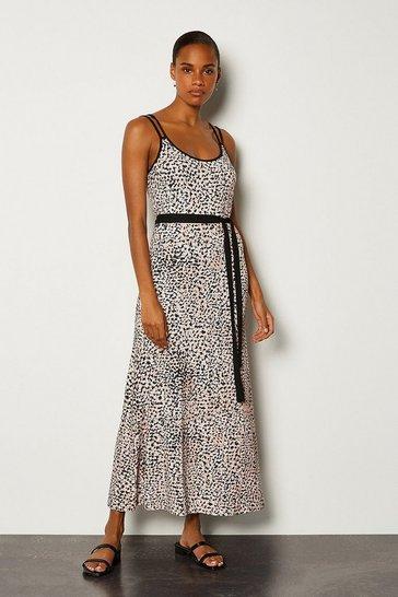 Animal Printed Tie Waist Jersey Maxi Dress