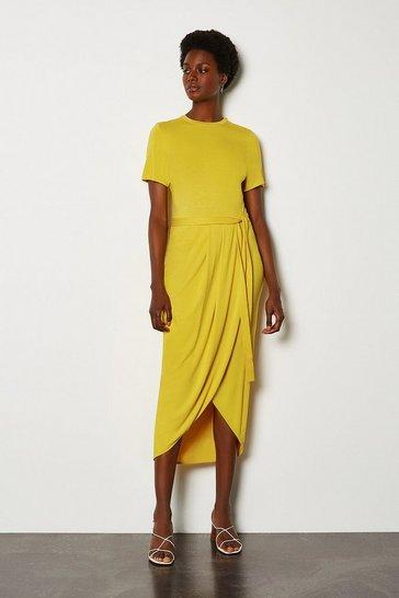 Mustard Tie Waist Jersey Dress