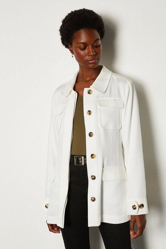 White Tencel Belted Safari Jacket