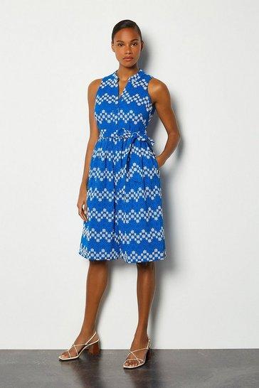 Blue Blueprint Sleeveless Midi Dress