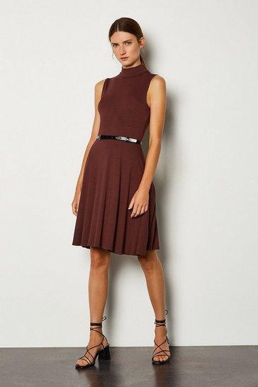 Rust Funnel Neck Jersey Dress