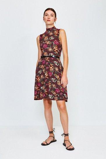Floral Printed Funnel Neck Dress