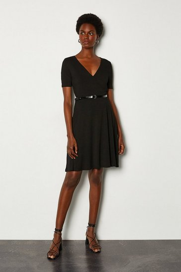 Black Wrap Front Jersey Dress