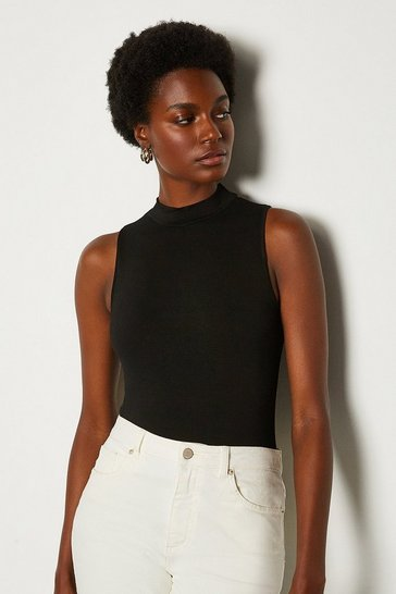 Black High Neck Sleeveless Jersey Top