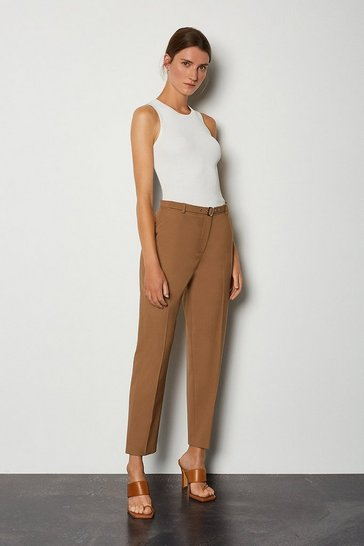 Camel Wool Blend Belted Peg Trouser