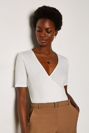 Ivory Wrap Front Jersey Top