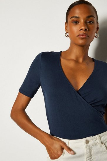 Navy Wrap Front Jersey Top