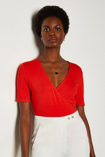Red Wrap Front Jersey Top
