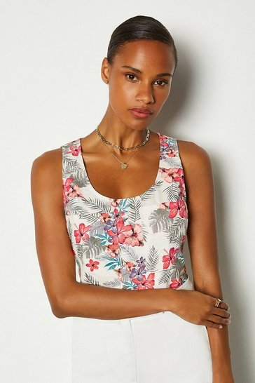 Pink Linen Sleeveless Shell Top