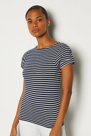 Navy Cotton Jersey Stripe T-Shirt