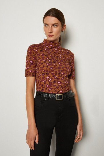 Brown Viscose Jersey Animal Print Funnel Top