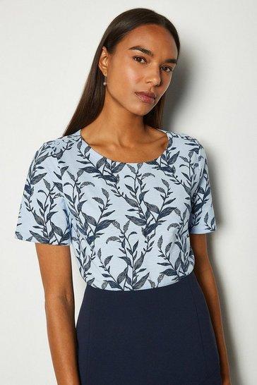 Blue Cotton Leaf Print T-Shirt