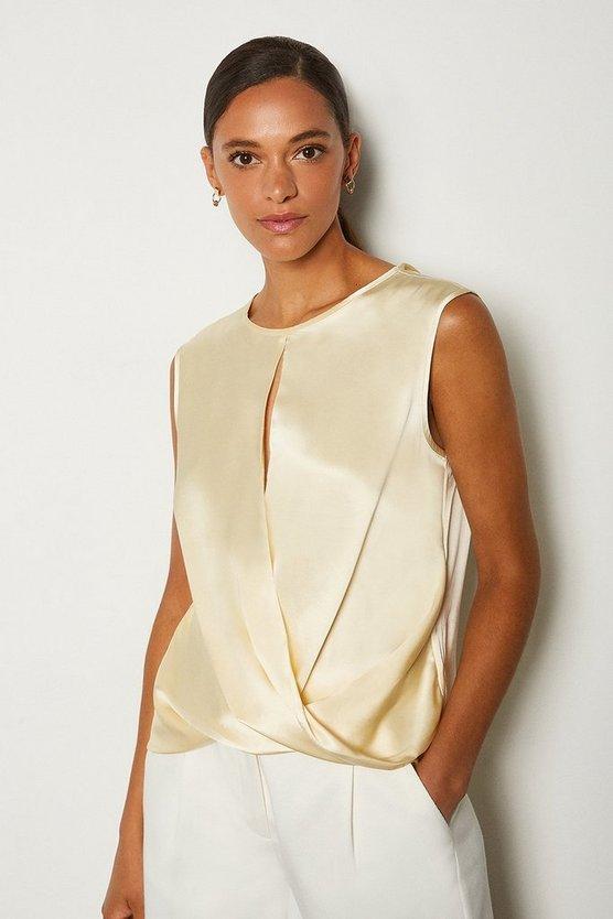 Ivory Silk Satin Sleeveless Wrap Blouse