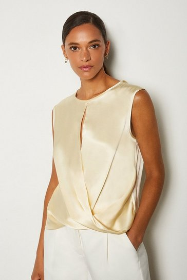 Ivory Silk Satin Sleeveless Wrap Blouse