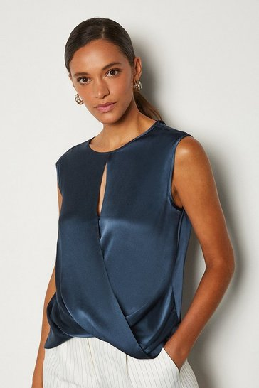 Navy Silk Satin Sleeveless Wrap Body