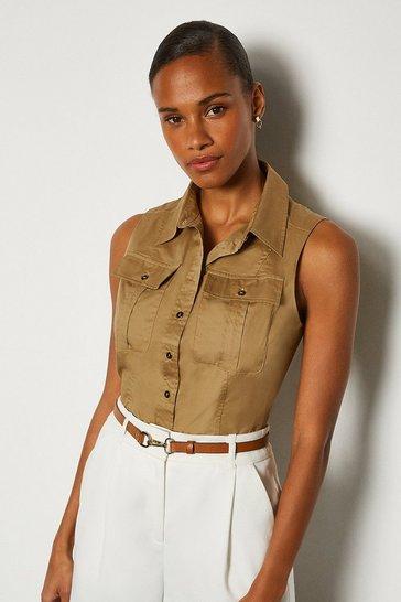 Stone Cotton Poplin Sleeveless Shirt