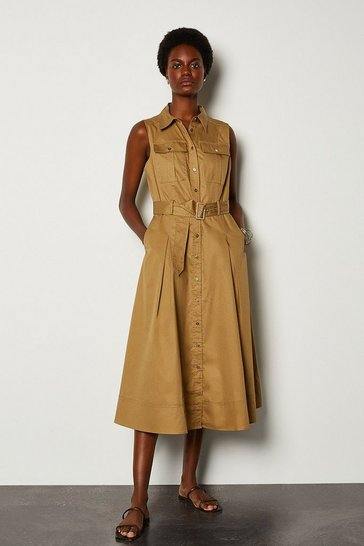 Stone Cotton Poplin Tie Waist Dress