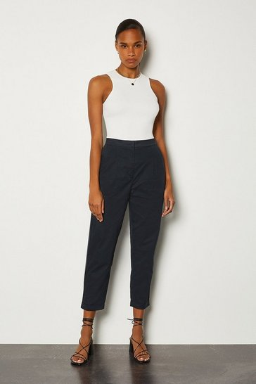 Navy Cotton Poplin Trouser