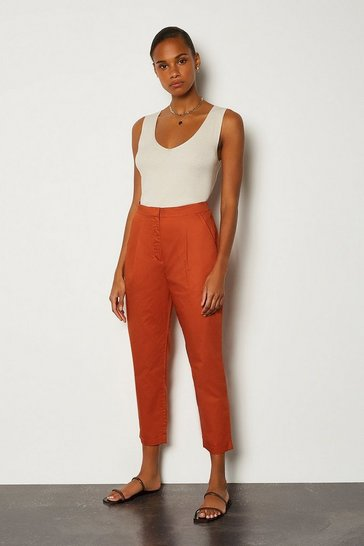 Tan Cotton Poplin Trouser