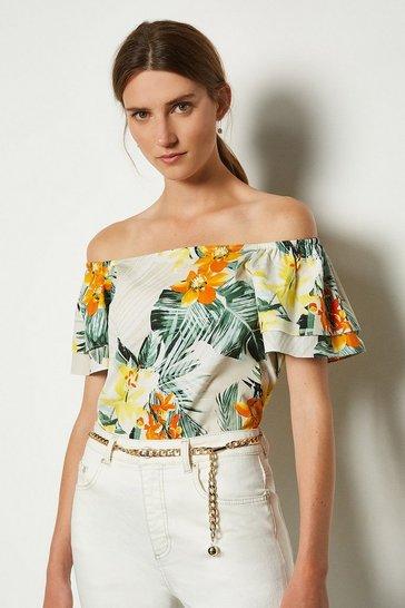 Yellow Cotton Floral Bardot Top