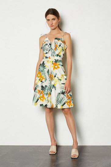 Yellow Cotton Floral Strappy Dress