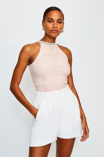 Blush Crochet Bandage Top