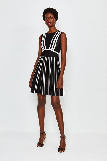 Blackwhite Mono Stripe Bandage Dress