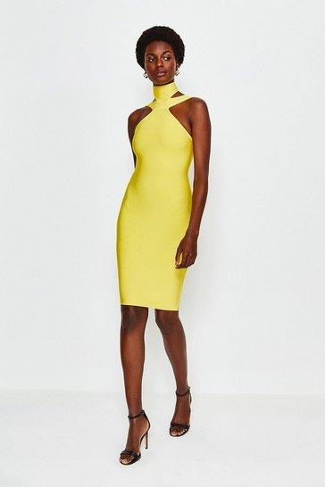 Yellow Double Strap Bandage Dress