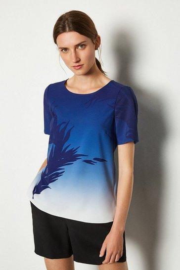 Blue Leaf Placement Print T Shirt