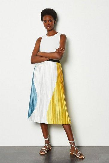 Mustard Colour Block Pleat Midi Skirt