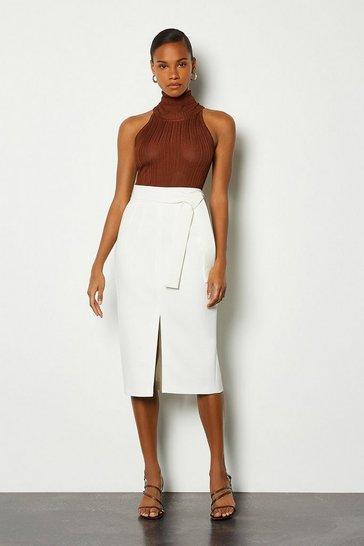 Ivory Multi Stitch Midi Pencil Skirt