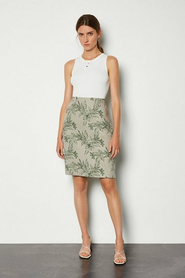 Multi Floral Leaf Linen Mix Midi Skirt