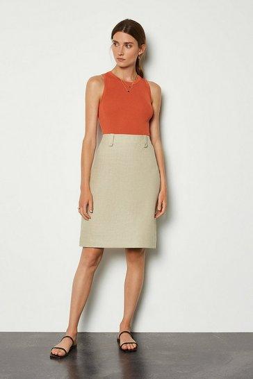 Khaki Linen A-Line Midi Skirt